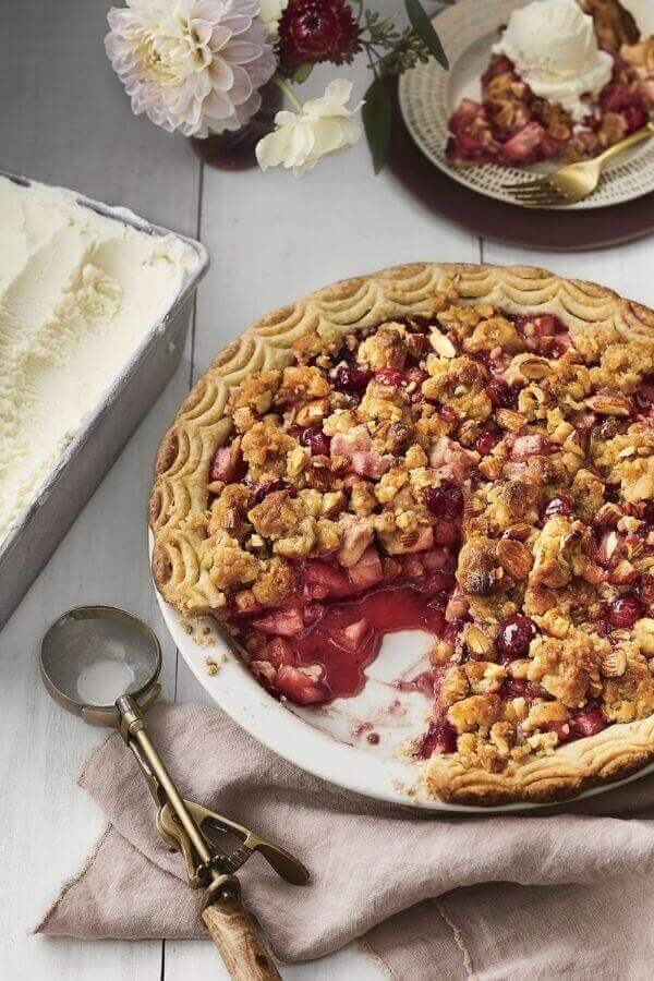 Pear Cranberry Pie with Ginger Almond Streusel