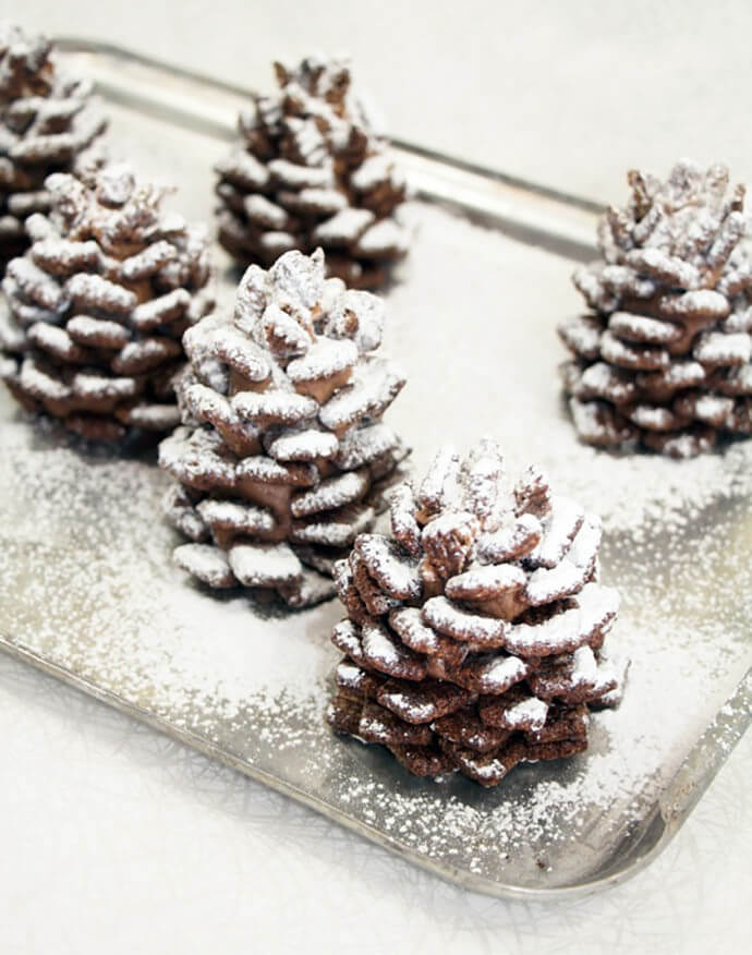 Quick and Easy Snowy Chocolate Pinecones